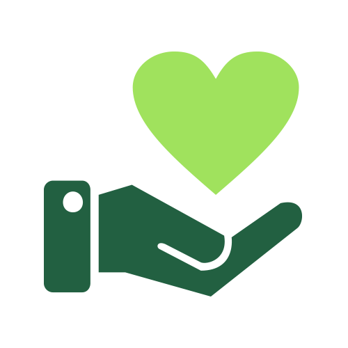 Green hand holding heart icon